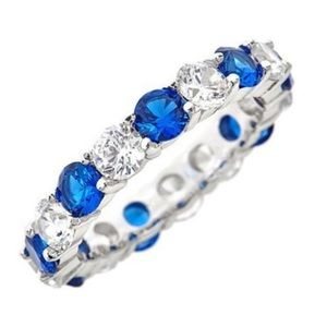 Sterling Silver Blue Sapphire CZ Eternity  Ring